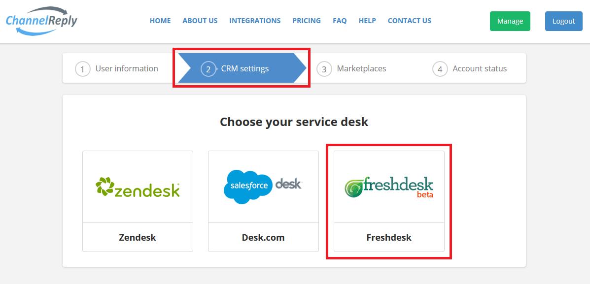 Choose Freshdesk in ChannelReply