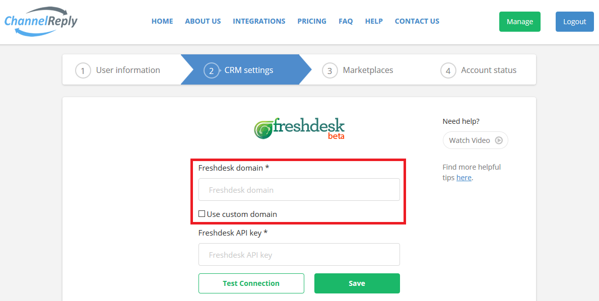 Freshdesk Domain Field