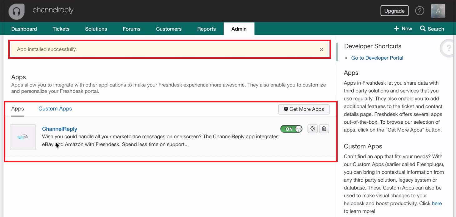 ChannelReply Installed on Freshdesk
