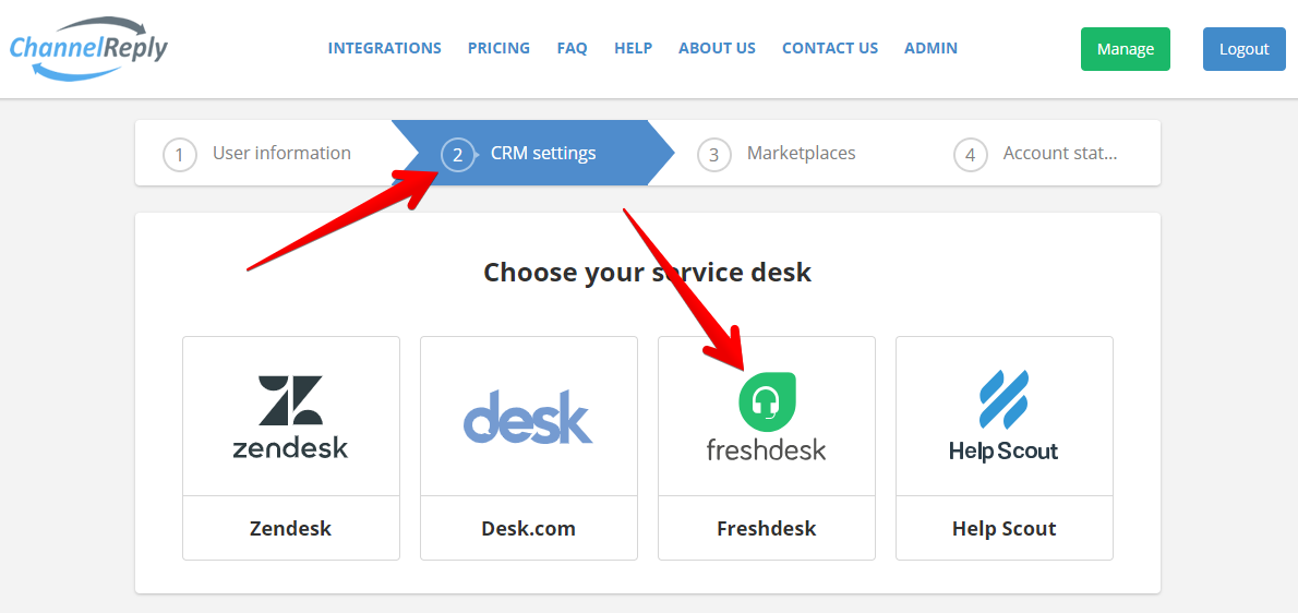 Choose Freshdesk in ChannelReply