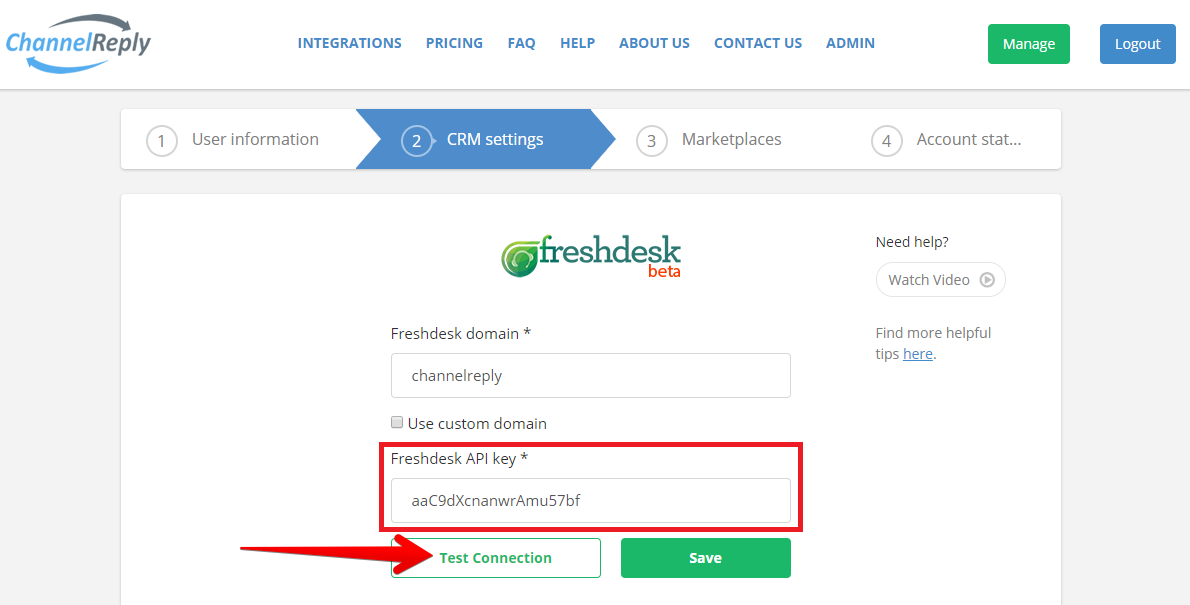 Test Freshdesk Connection to ChannelReply