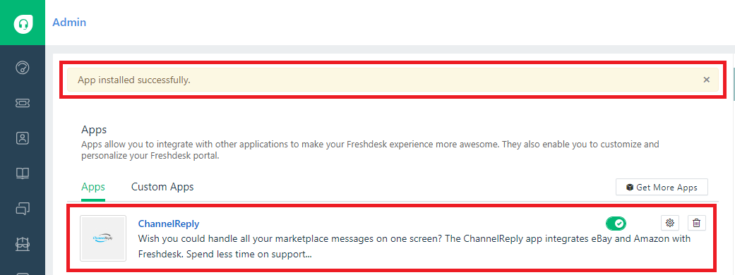 ChannelReply Installed on Freshdesk