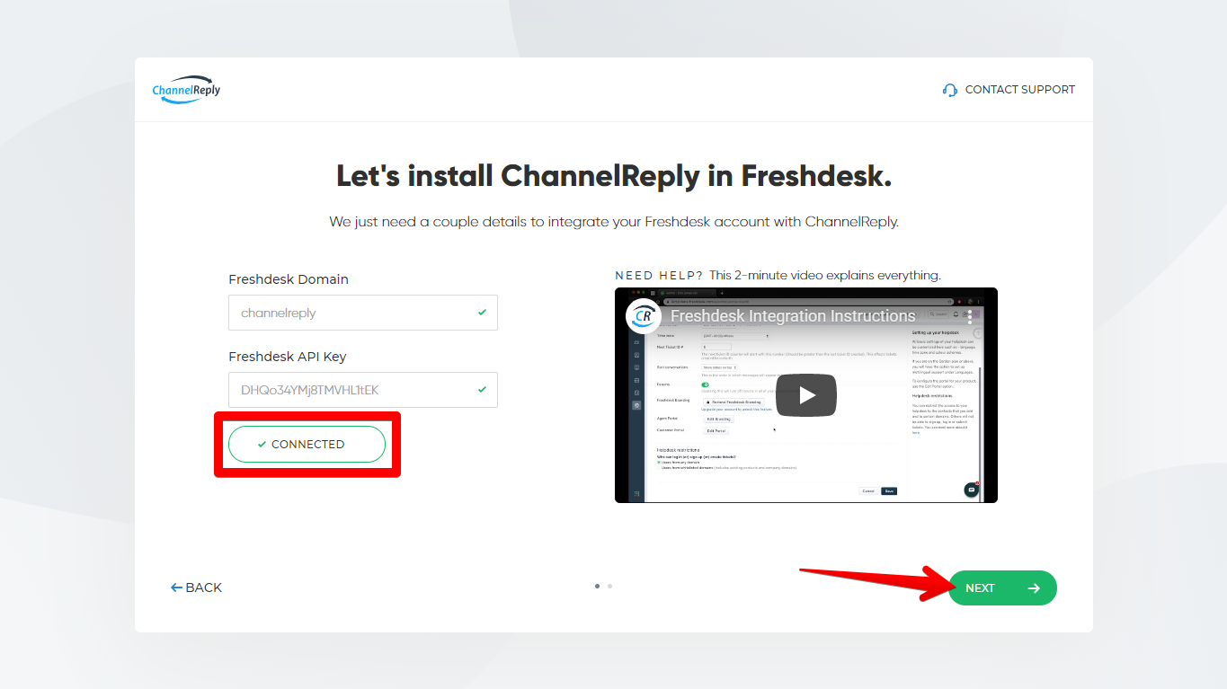 Successful ChannelReply-Freshdesk Connection