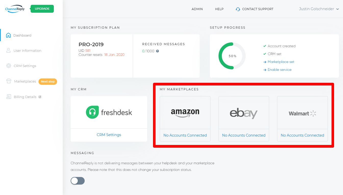 Adding Marketplaces from the ChannelReply Dashboard