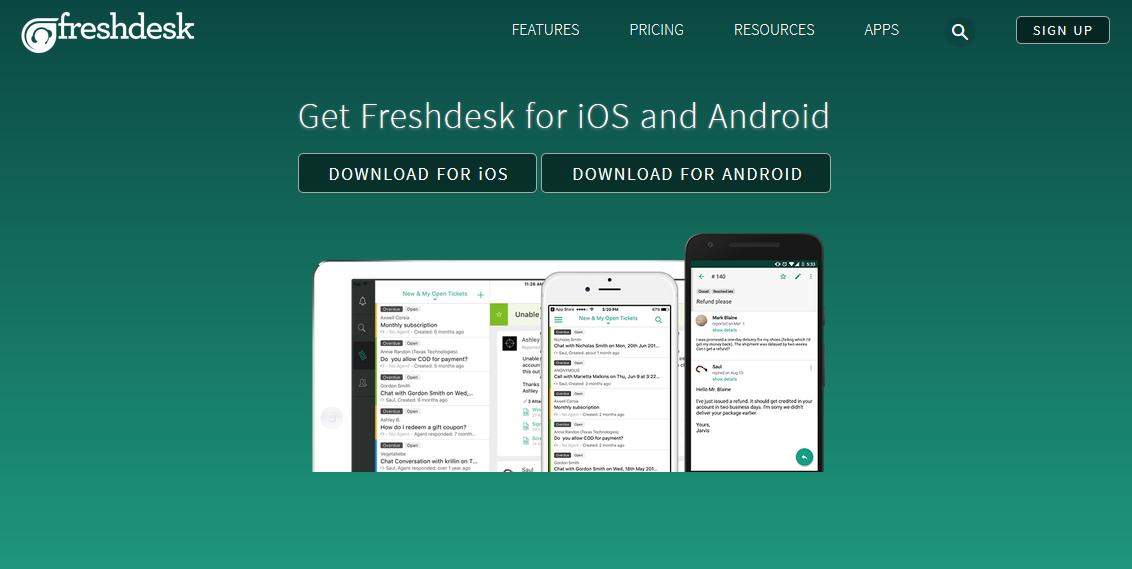 Freshdesk Mobile Page