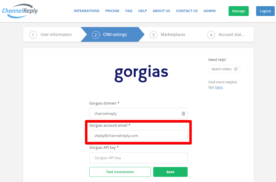 Where to Enter Your Gorgias Username in ChannelReply