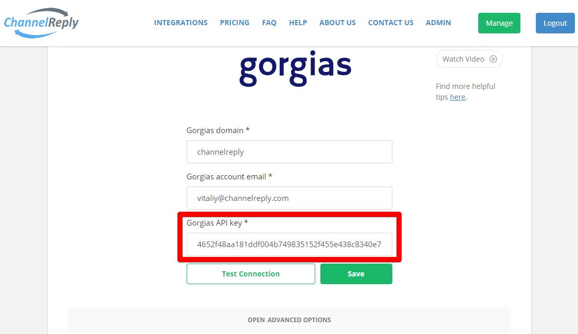 Where to Enter Your Gorgias API Password in ChannelReply
