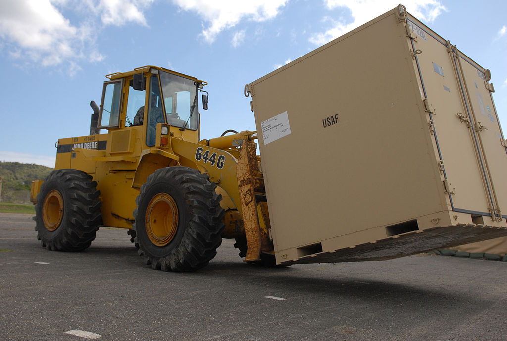 Shipping Crate on Forklift