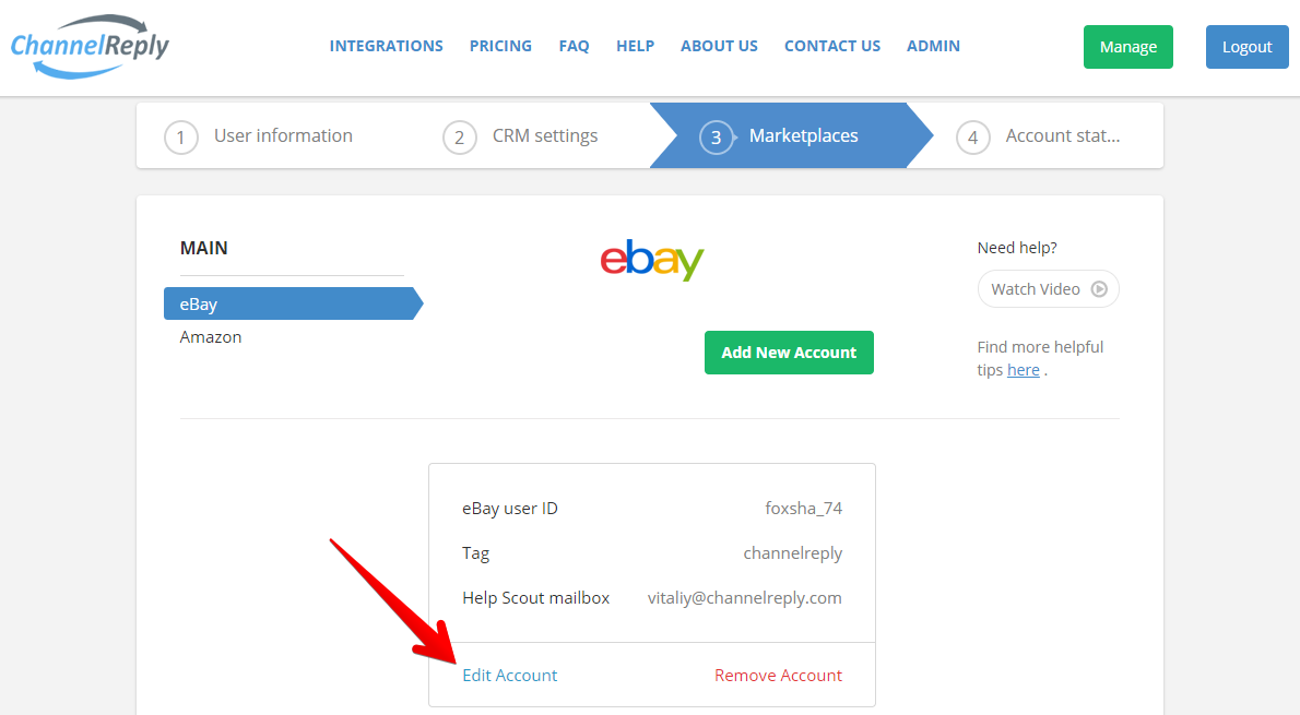 Edit eBay Account in ChannelReply