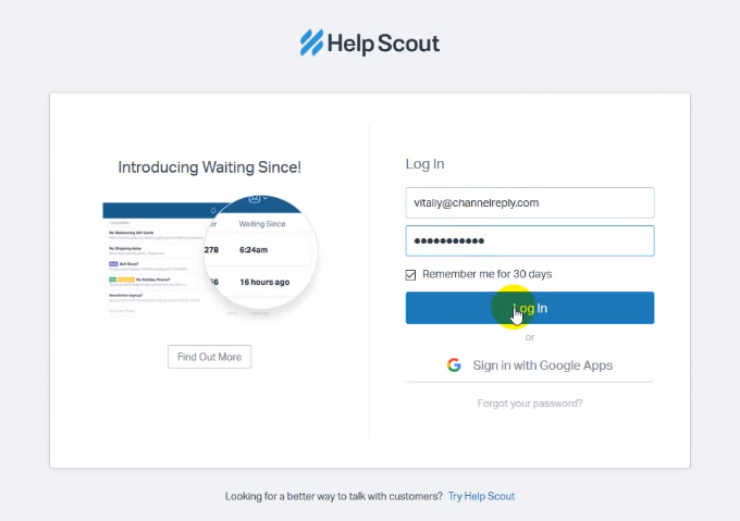 Choose Help Scout in ChannelReply
