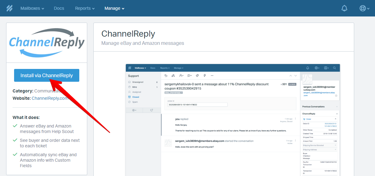Install ChannelReply App for Help Scout