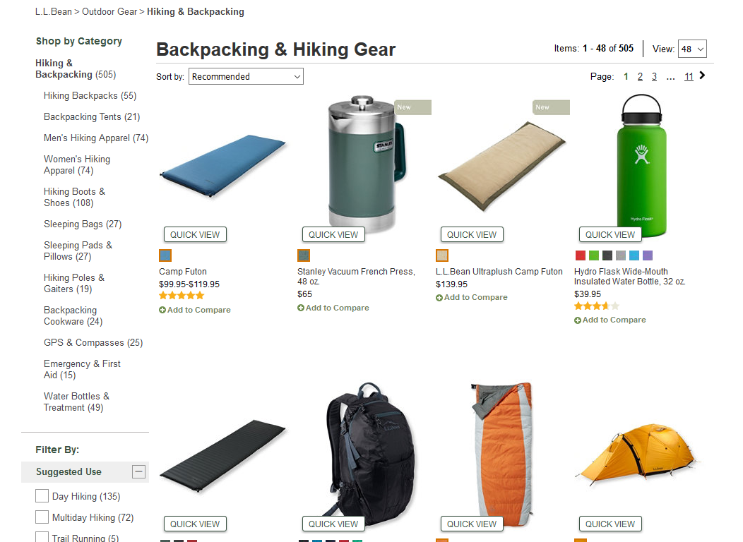 L.L.Bean Backpacking and Hiking Gear
