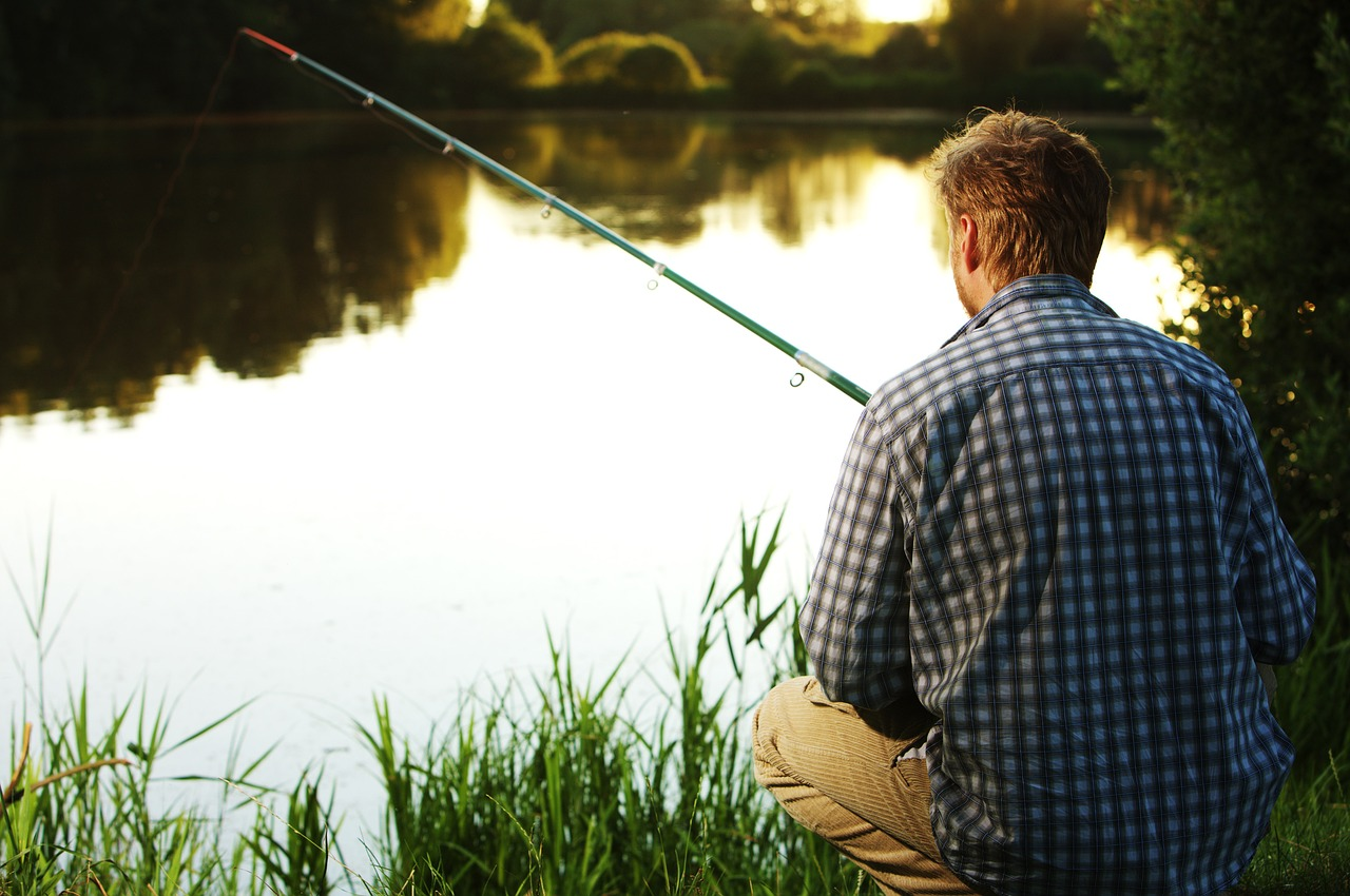 Man Fishing Patiently