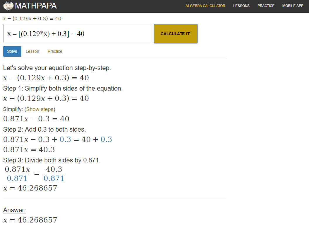 Math Papa Algebra Calculator