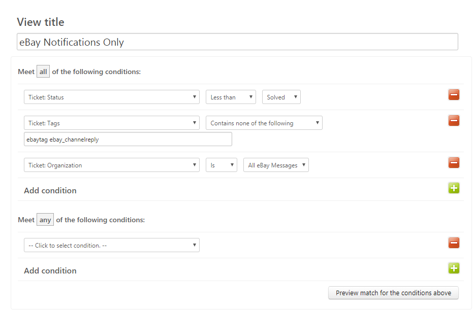 Zendesk View Settings for Showing Only eBay Notifications
