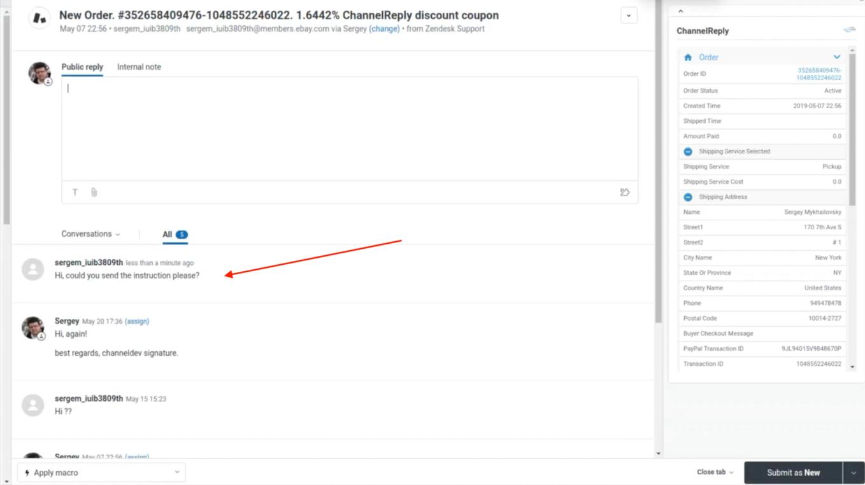 eBay Message Received in Zendesk
