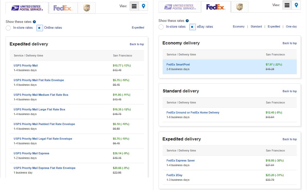 eBay Shipping Calculator: USPS vs. FedEx