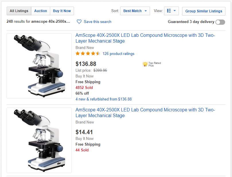 Standard eBay Listings