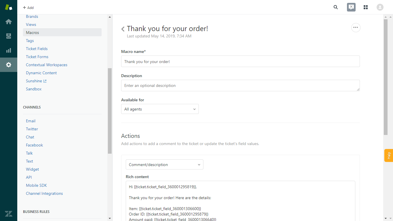 Zendesk Macro with ChannelReply Custom Fields as Placeholders