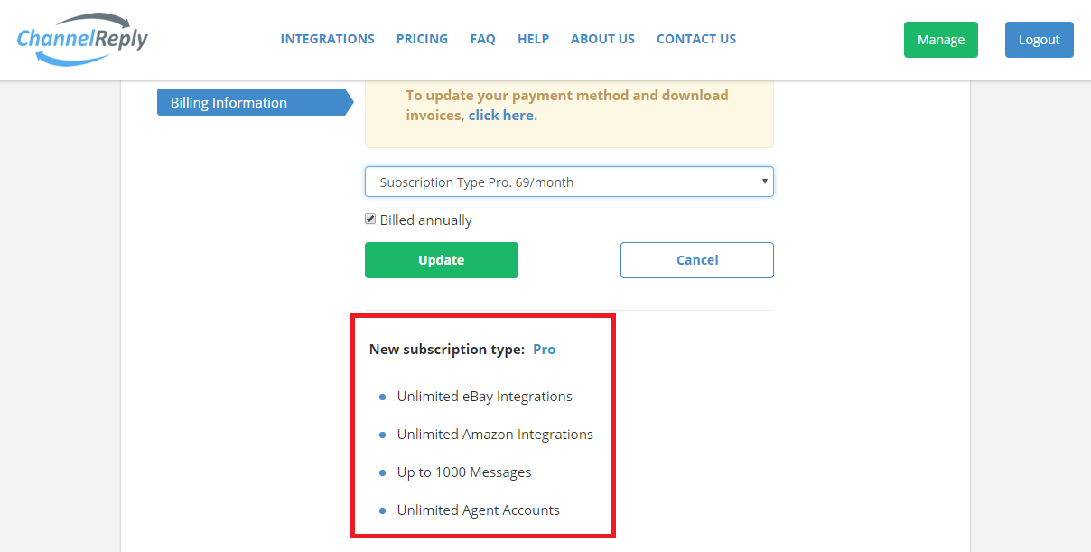 Account Limits for New Subscription Type