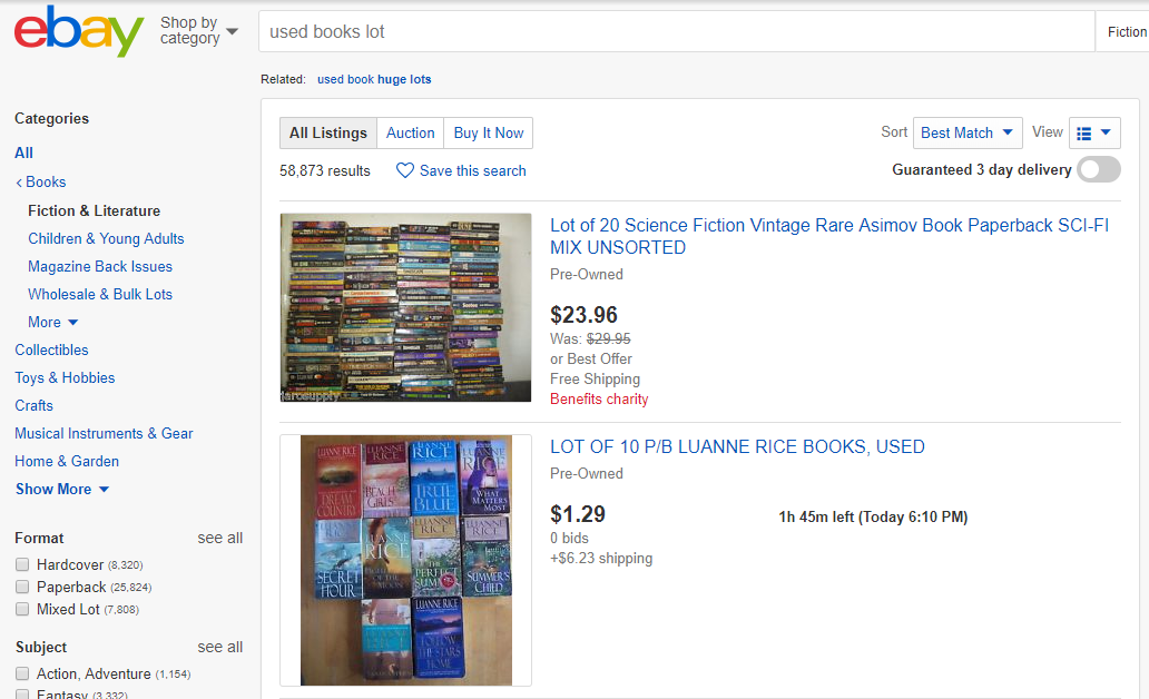 Used Books Lot Search on eBay