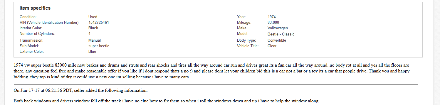 Successful VW Beetle Listing Description by tonyb76er