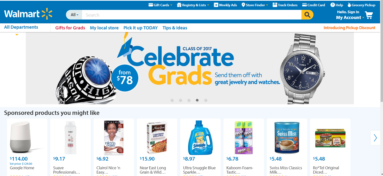 The Walmart Homepage, May 2017