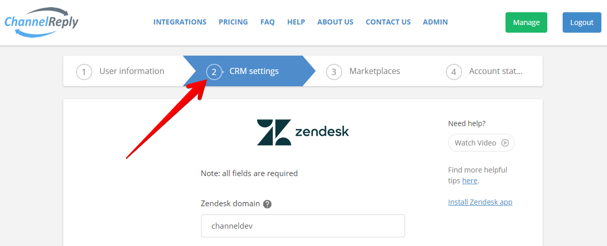 Select CRM Settings in ChannelReply