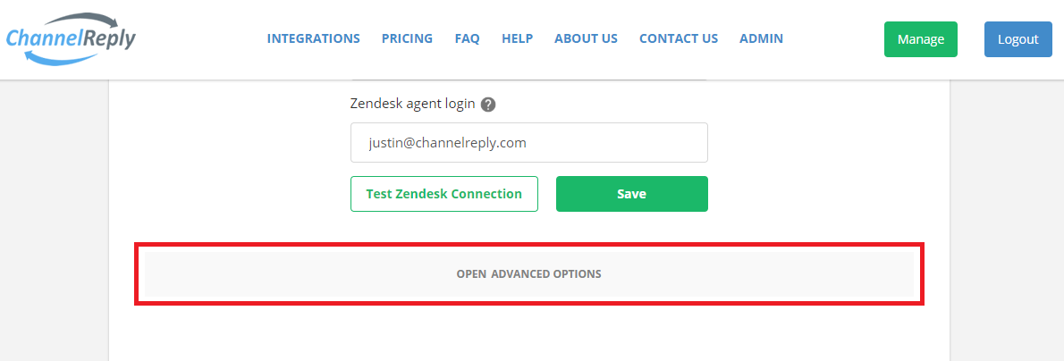 Open Advanced Zendesk Setup Options in ChannelReply