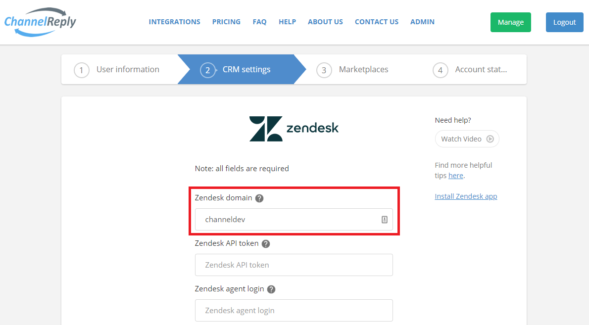 Where to Enter Your Zendesk Domain in ChannelReply