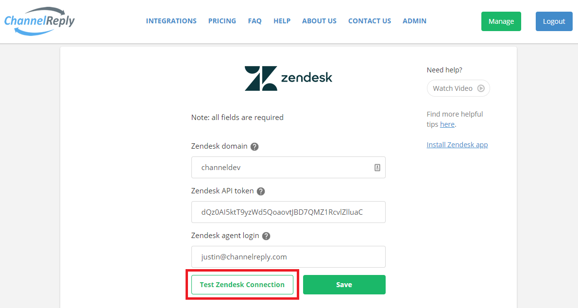 Test Zendesk Connection