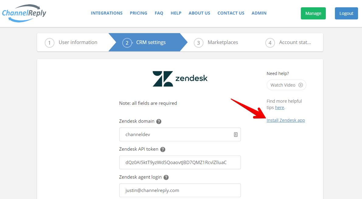 Install Zendesk App Link