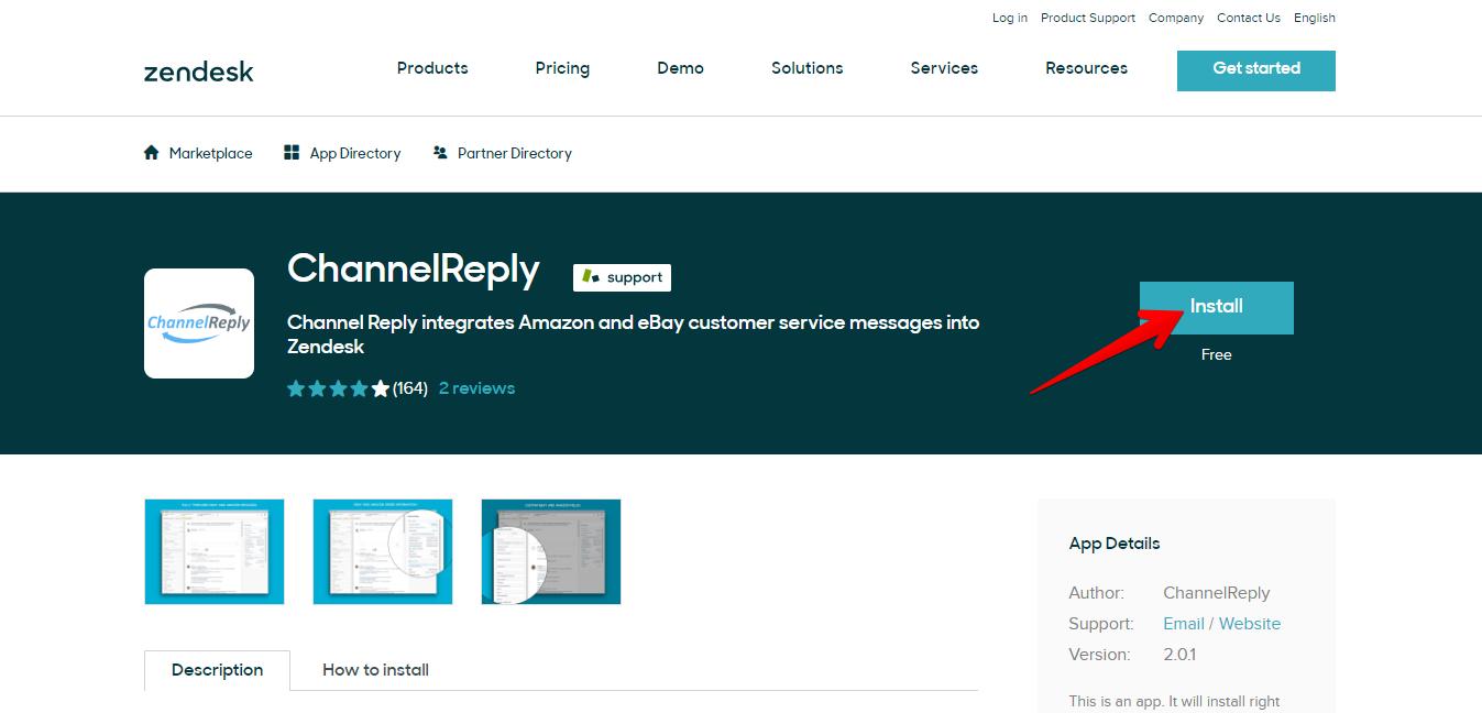Install ChannelReply Zendesk App