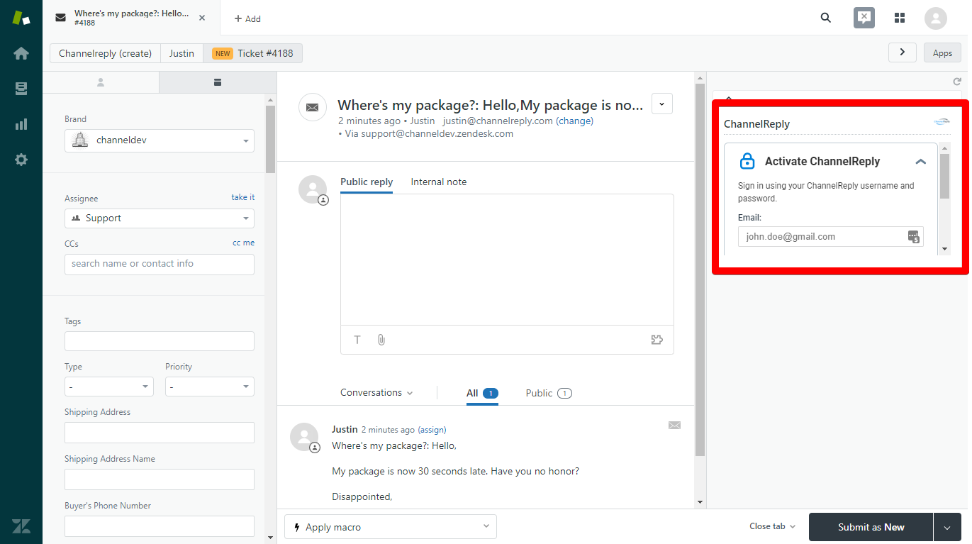 Activate the ChannelReply App in Zendesk