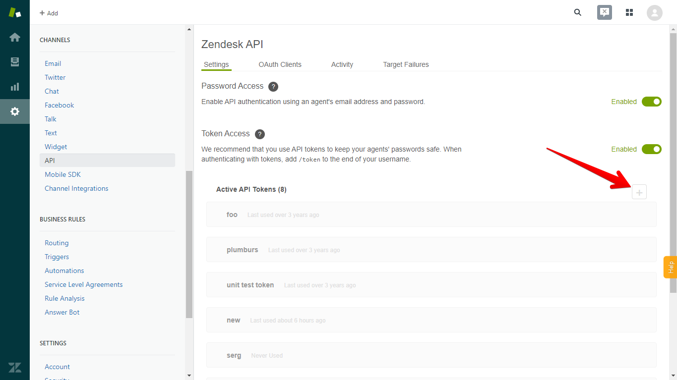 Add New API Token in Zendesk by Clicking the Plus Sign