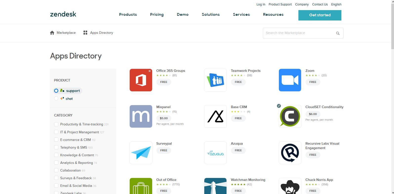 Zendesk App Store, October 2017