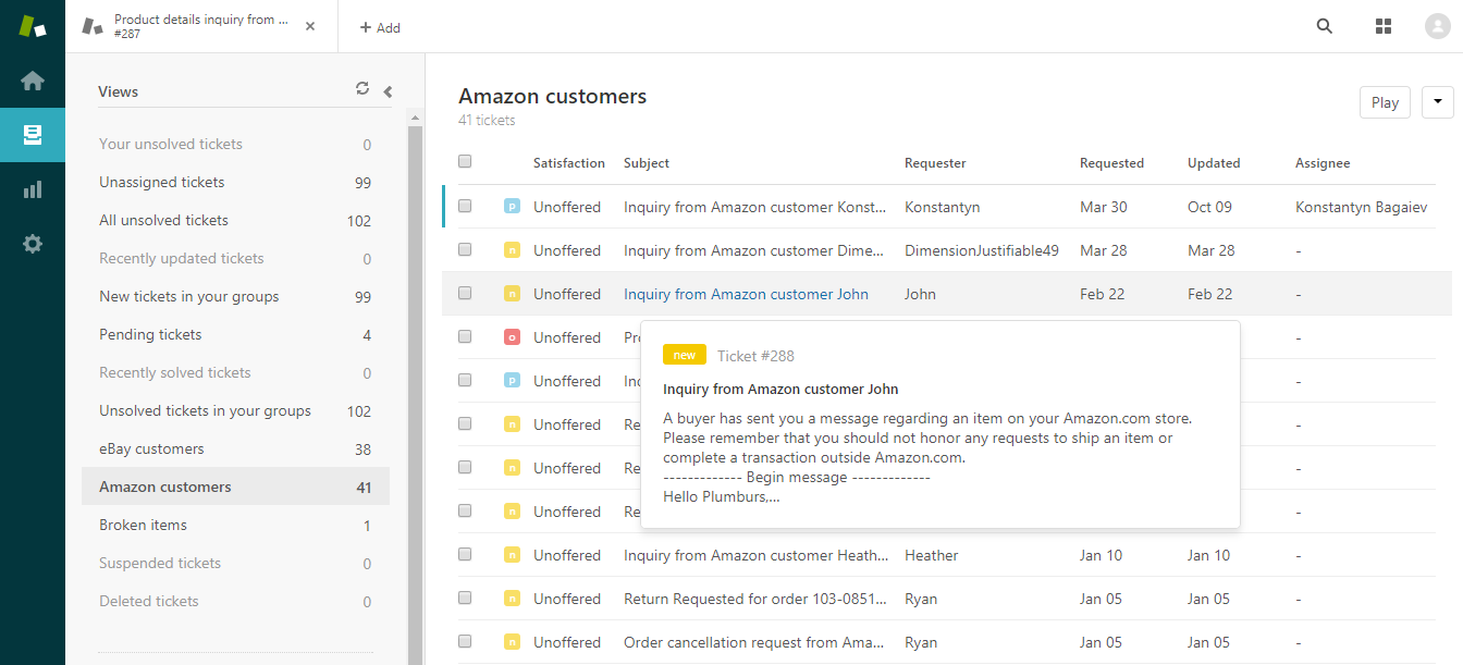 Zendesk as an Amazon Messaging System