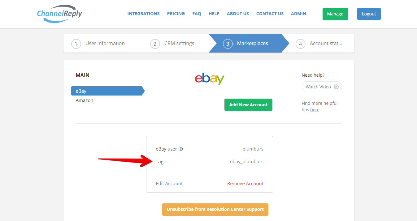 eBay Account Tag in ChannelReply