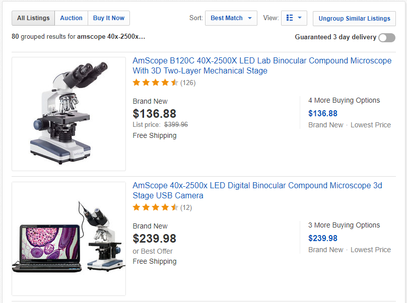 eBay with the Group Similar Listings Filter Active
