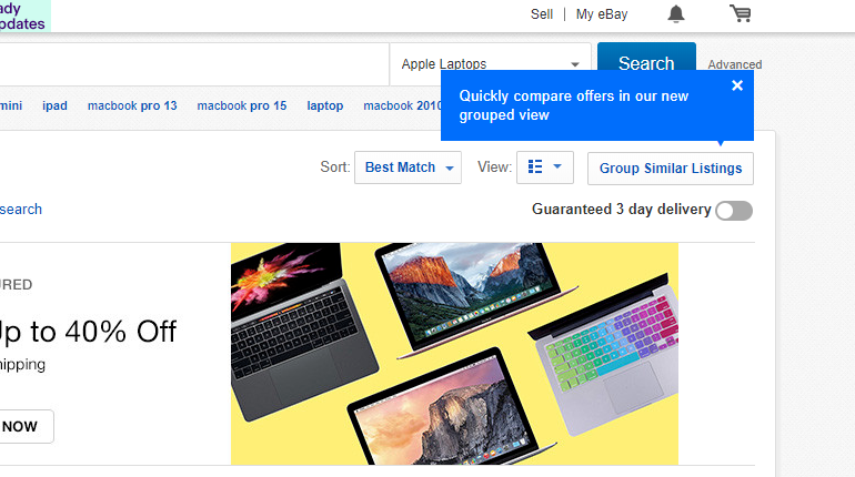 eBay Grouped Listings Promotional Popup