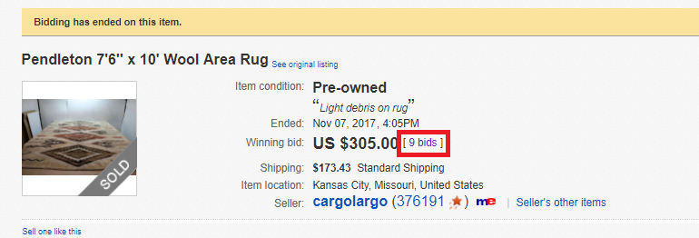 Number of Bids on a Completed eBay Listing