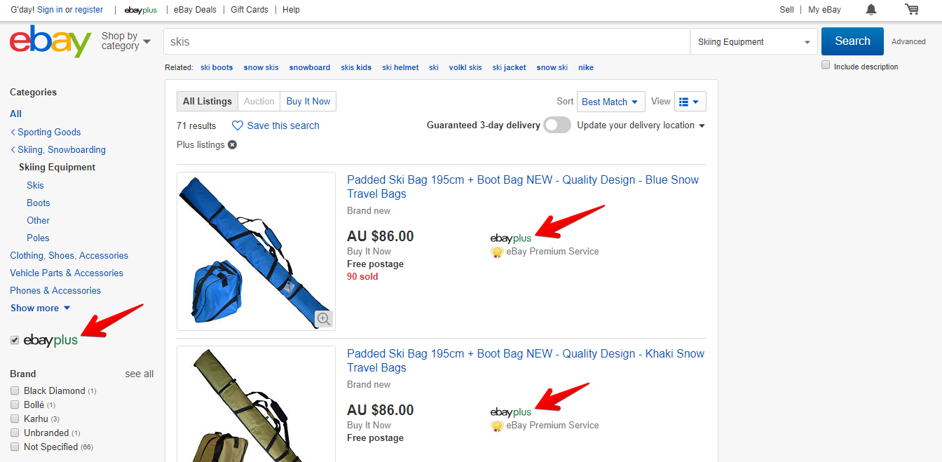 Filtering Search Results by eBay Plus Listings