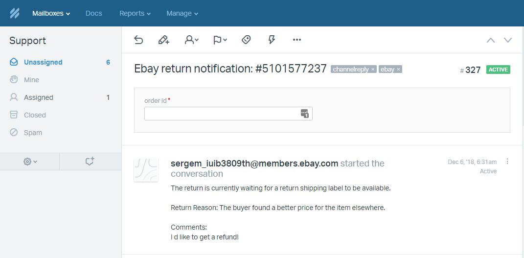 eBay Return in Help Scout