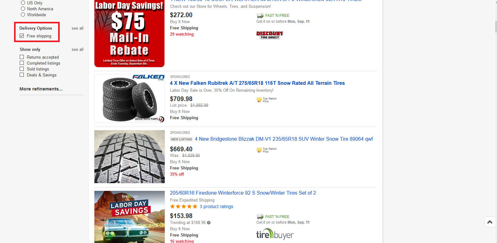 Snow Tires on eBay with Free Shipping